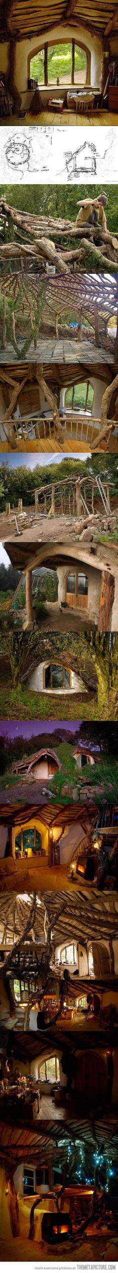 "How to build a Hobbit house :) would make an excellent ""backyard getaway"" type deal! Have family sleepovers in there when it snows, for holidays, or just for fun!"