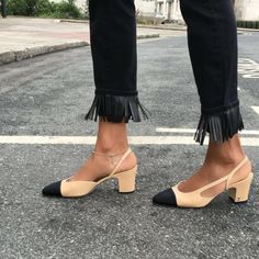 fashion week street style. Chanel shoes, Chanel Slingbacks #chanelslingbacks #chanelshoes #streetstyle