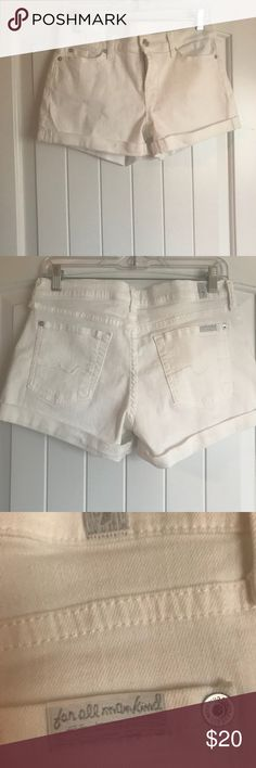 """7 For All Mankind white shorts size 27 7 For All Mankind White shorts size 27. 3 1/2"""" inseam 10 1/2"""" long. Wore once to a shrimp boil and I think I sat in bbq sauce 🙄 there is a stain on back right pocket see picture. 7 For All Mankind Shorts"""