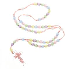 This plastic pastel bead rosary makes a perfect first rosary to celebrate a baby baptism.