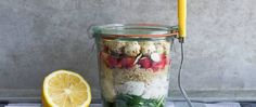 Chicken salad layered with fresh fruit and better-for-you grains makes for a tasty lunchtime change-up.