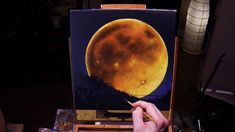 Full Moon Rising II - Acrylic Painting Lesson - $14.99 #onselz