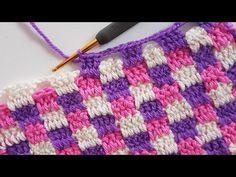 So beautiful With English subtitle!!! Kareli Örgü Battaniye /Plaid Crochet Blanket, scarf - YouTube