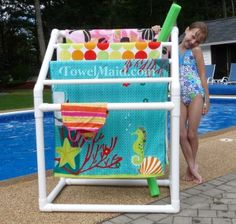 The new slimmer 5-Bar TowelMaid storage rack makes drying a breeze and poolside organization a cinch. Great for smaller families or small spaces!