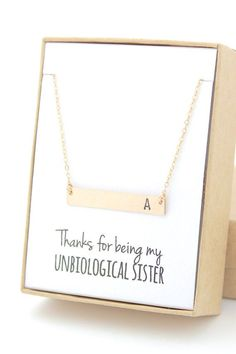 Gold Bar Necklace - Bridesmaid Gift Jewelry - Thanks for Being My Unbiological Sister - Wedding Party - Bridal Party Gifts - Initial Letter Gifts For Wedding Party, Bridal Gifts, Party Gifts, Diy Gifts, Wedding Parties, Sister Wedding Gifts, Wedding Gifts For Friends, Party Favors, Initial Necklace Gold