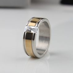 Find More Rings Information about Wide 7mm zircon Golden stripes rings 316L Stainless Steel men finger ring Free shipping wholesale lots,High Quality ring slim,China steel friction Suppliers, Cheap steel ring roller from Chinese Jewelry Factory,Wholesale From Yiwu China on Aliexpress.com