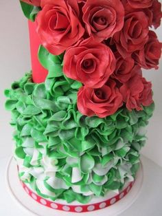 Couture Christmas cake with green & white ruffles & red roses