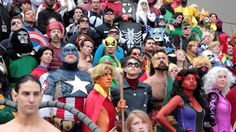 Giant crowd Marvel cosplay