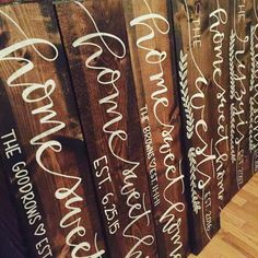 HOME SWEET HOME Hand lettered, hand painted, stained wood plank sign / housewarming, wedding, engagement gift by LettersbyLinds on Etsy https://www.etsy.com/listing/251567386/home-sweet-home-hand-lettered-hand