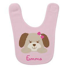 Pink Puppy Baby Bib