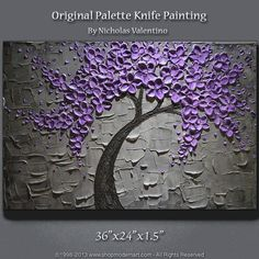 """Large 36""""x24"""" Original Textured Impasto Painting on Gallery Canvas - Blossom Tree - Purple & Grey Wall Art - Palette Knife - FREE SHIPPING!! on Etsy, $169.99:"""