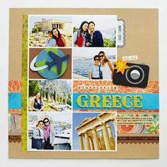 Add Travel Icons to Your Layout  Design By Valerie Salmon  Add a jet-setting embellishment to your layout with an icon of an airplane circling the Earth. Use decorative-edge scissors to cut out the continents. Pair a black-and-white camera piecing with favorite photos from the trip, and add a splash of color with an orange-and-yellow cardstock flash.