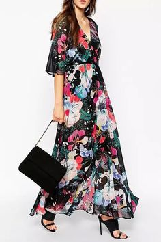 Full Floral V Neck Half Sleeve Maxi Dress