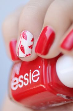 Nail art - red and white stamped. Essie Hip-anema