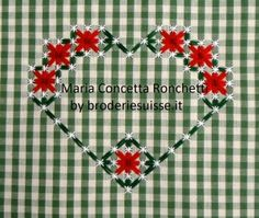 Hearts for a year: December Ribbon Embroidery, Embroidery Designs, Chicken Scratch Embroidery, Geometric Heart, Doll Clothes Patterns, Hand Stitching, Cross Stitch Patterns, Sewing Crafts, Needlework