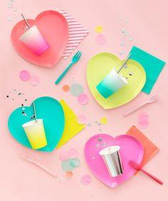 Valentines theme party - Oh Happy Day I Heart Neon Plates – Valentines theme party Neon Party Themes, Birthday Party Themes, Neon Birthday, Monkey Birthday, Birthday Candy, Birthday Box, 11th Birthday, Theme Parties, Birthday Celebration