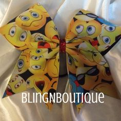 How fun is this!! Show all your emotions with this cute emoji bow with a red glitter center. BlingNBoutique bows are handmade to order. Unless otherwise stated in the individual description, they are
