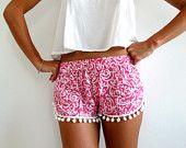 Pom Pom Shorts - Pink and White Swirl Pattern - Gym/Beach Shorts