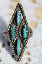 Vintage Southwestern Tribal Sterling Silver Needlepoint Turquoise Diamond Ring