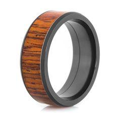 Men's Beveled Edge Polished Black Zirconium Cocobolo Wood Ring