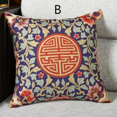 Chinese style decorative throw pillows modern classical flower cushions