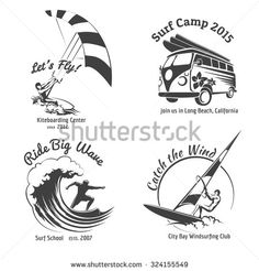 Vintage surfing labels and badges set.  Ocean wave, kitesurfing and sea sport. Vector illustration