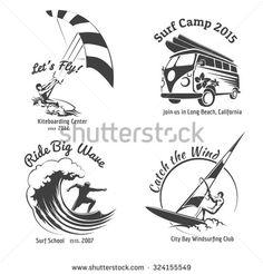 Vintage surfing labels and badges set.  Ocean wave, kitesurfing and sea sport. Vector illustration