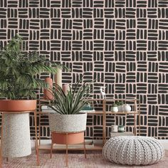 Japanese Block Wallpaper, Traditional Removable Wallpaper, Geometric Peel and Stick, Wood Block Pattern, Japan Home Decor, Minimal Shape - Canvas Wall Decal / 1 roll: 24W x 96H