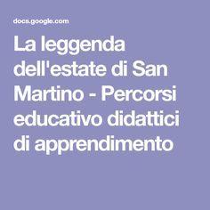La leggenda dell'estate di San Martino - Percorsi educativo didattici di apprendimento