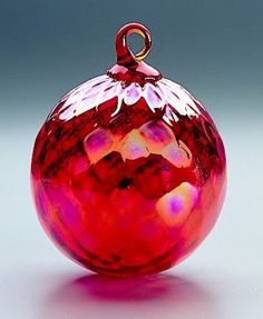 Mt. St. Helens Ash Hand Blown Glass Ornament - Red Diamond Facet - 3'' diameter