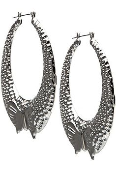 TRENDY FASHION JEWELRY LARGE BOW ACCENT DIMPLED HOOP EARRINGS BY FASHION DESTINATION  Silver -- See this great product. Note:It is Affiliate Link to Amazon.