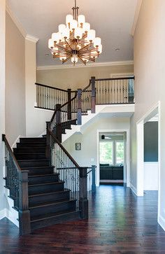 Love the dark wood staircase stained staircase, dark staircase, entry stairs, staircase design Stained Staircase, Dark Staircase, Entry Stairs, Staircase Design, Stair Design, Staircase Railings, Traditional Staircase, Welcome To My House, Looks Cool