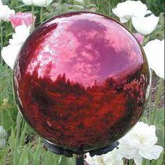 Close up image of 10 Gazing Balls - Burgundy Steel Garden Globe