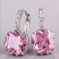 Pink 925 Crystal Silver Huggie Hoop Earrings