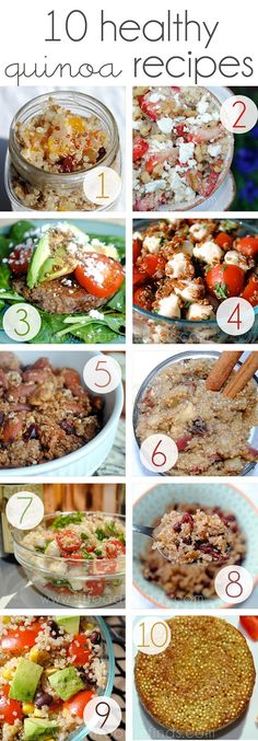 10 Healthy Quinoa Recipes Gluten-free and some can be made vegan. Numbers 5 & 6 look yummy!