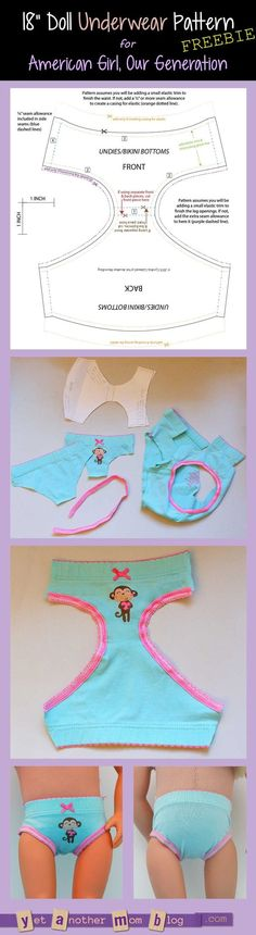 Generation/American Girl undies/bikini bottoms pattern freebie American Girl/Our Generation Doll underwear pattern freebieThe American The American may refer to: Sewing Doll Clothes, American Doll Clothes, Girl Doll Clothes, Doll Clothes Patterns, Barbie Clothes, Clothing Patterns, Girl Dolls, Doll Patterns, Ag Dolls