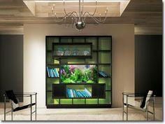 aquarium maison - meuble de rangement de design original avec un aquarium à encastrer