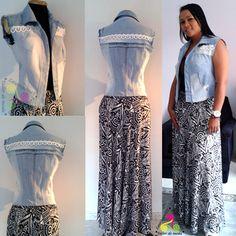 Falda sobre medida y chaleco costumizado.. #Recycled  #customized #clothes
