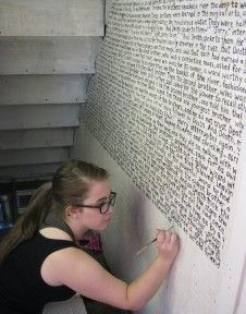 She wrote an entire chapter from the 7th Harry Potter book on a wall in her cupboard under the stairs. That's dedication! Would be a fun idea to write a whole Dr Seuss book on a wall for a kid's room though.