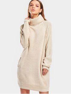 Long Turtleneck Raglan Sleeve Sweater - BEIGE ONE SIZE