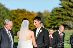 Bride and Groom at Ceremony - Country Club of Pittsfield Wedding - Tricia McCormack Photography