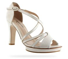 High heeled sandal Viveka Metallic goatskin suede Dream white by Repetto - Collection spring-summer 2014