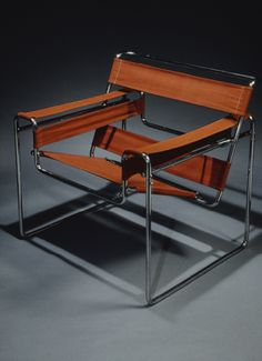 """Wassily"" chair, 1925; Marcel Breuer. Chrome-plated steel, canvas upholstery"