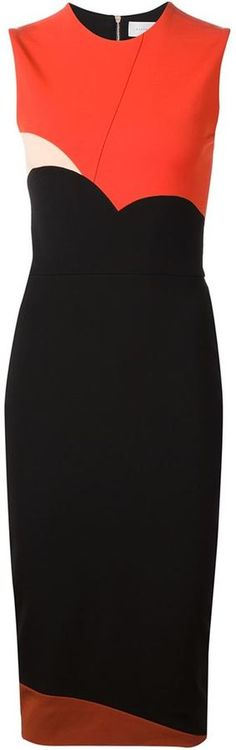 Victoria Beckham colour block fitted dress