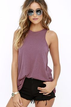 RVCA Label High Neck Tunic Mauve Purple Tank Top at Lulus.com! small