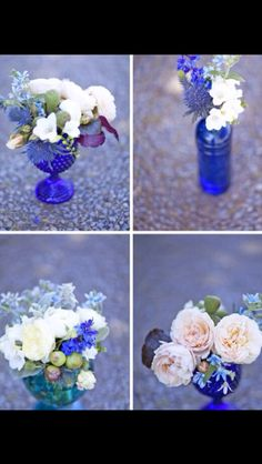 Bristol blue glass top table decor