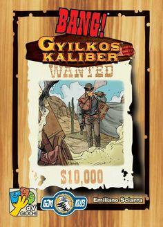 A cowboyok ajánlásával 😎 A Bang! alapjáték után újabb párbajhősök érkeztek a városba, talpig felfegyverkezve és viszkető mutatóujjal a ravaszon.  És ne feledjük, hogy a fegyverboltba is egy rakás új áru érkezett! Meglepetésben nem lesz hiány: halálos fegyverek, menő felszerelések és gyilkos erejű töltények… a Gyilkos kaliber kártyák! De nem érkezett annyi, hogy mindenkinek jusson, ha nem vagy elég gyors, hogy beszerezz párat, az ellenségeid használják ki az előnyeit! Comic Books, Comics, Cover, Art, Art Background, Kunst, Comic Book, Gcse Art, Blanket