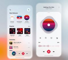 Music App UI (Light Version) by Ahmed Manna via Dribbble - Web Design & Web Development Web Design, App Ui Design, User Interface Design, Graphic Design, Design Layout, Instagram Music App, Application Ui Design, Ui Design Mobile, Bussiness Card