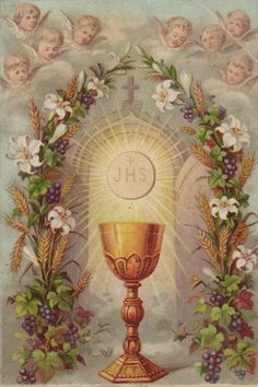 Blessed Feast of Corpus Christi. Catholic Prayers, Catholic Art, Religious Art, Roman Catholic, Catholic Relics, Corpus Christi, Catholic Pictures, Vintage Holy Cards, Christ The King