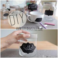 DIY Chalkboard label jars & storage.  Home decoration ideas.